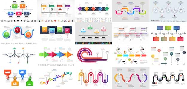 Bunte mehrere ebenen timeline infographik