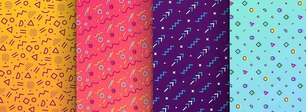Bunte memphis nahtlose muster in farbfelder panel