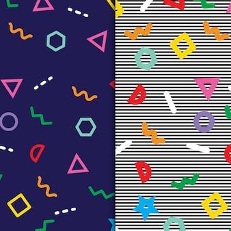 Bunte memphis retro 70er 80er und 90er jahre mustersammlung kostenlosen vektoren