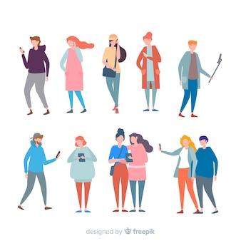 Bunte Menschen mit Handy