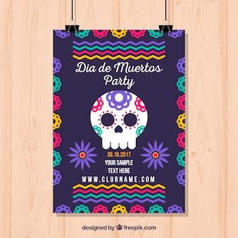 Bunte mexikanische partyplakatschablone