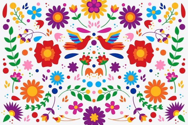 Bunte mexikanische tapete des flachen designs