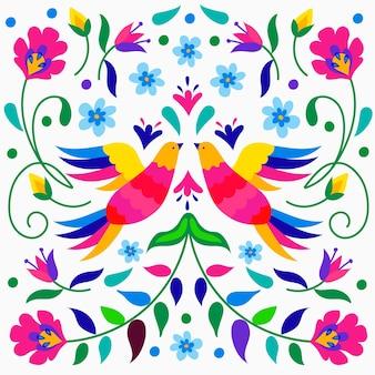 Bunte mexikanische tapete mit vögeln