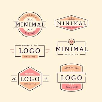 Bunte minimale logosammlung im retrostil