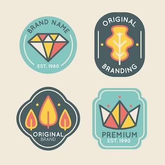 Bunte minimale logosammlung im vintage-stil