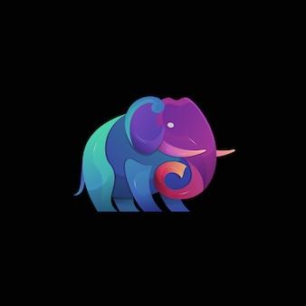 Bunte moderne tierlogoillustration des elefantengradienten