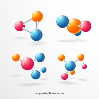 Bunte moleküle mit niedlichem stil
