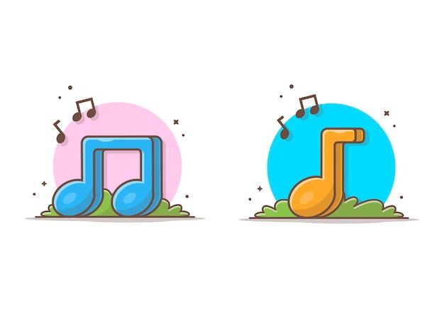 Bunte musik-anmerkungs-ikone. musiknoten, lied, melodie und melodienweiß lokalisiert