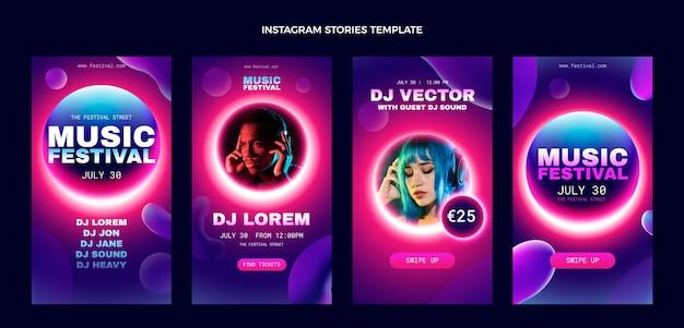 Bunte musikfestival-instagram-geschichten mit farbverlauf