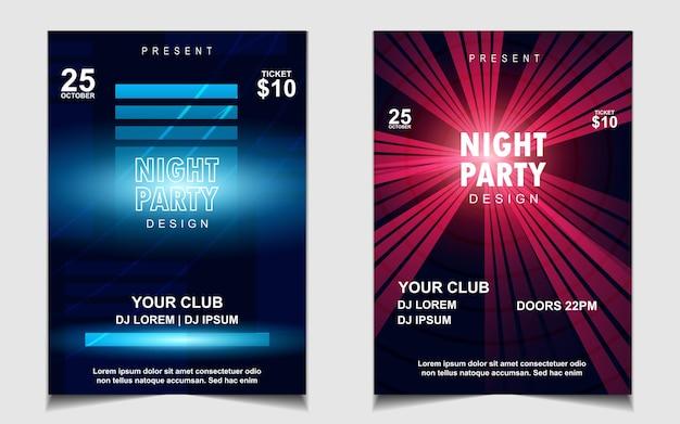 Bunte nachttanzparty-musik-flyer oder poster-design