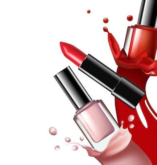Bunte nagellack-nagellack-spritzer roter lippenstift auf weißem hintergrund vorlage vektor