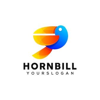 Bunte nashornvogel-logo-design-vorlage