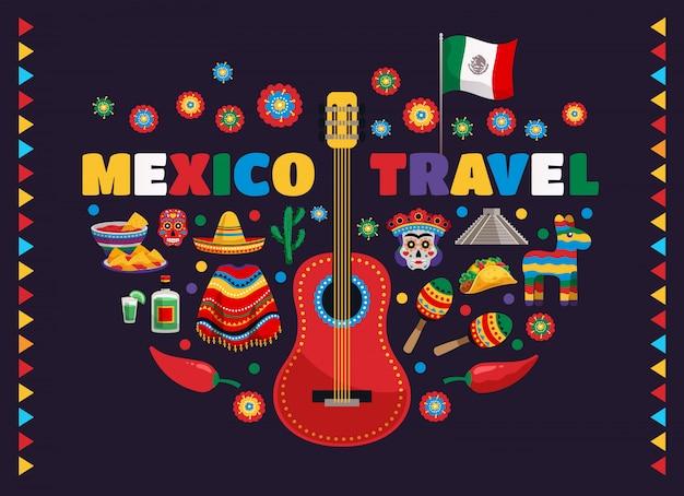 Bunte nationale traditionelle symbolzusammensetzung mexikos mit gitarrenflaggenlebensmittel maskiert tequilakaktusreise