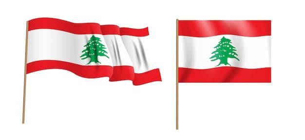 Bunte naturalistische libanesische republik wehende flagge.
