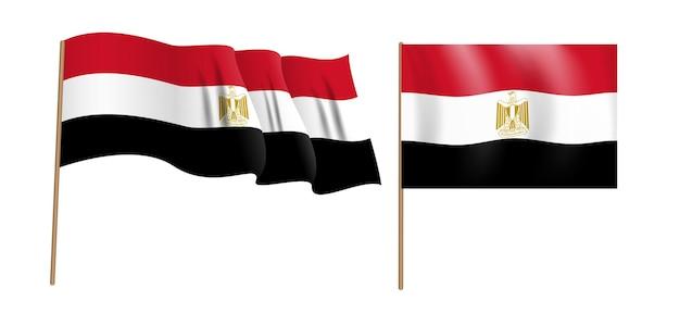 Bunte naturalistische wehende flagge der arabischen republik ägypten.