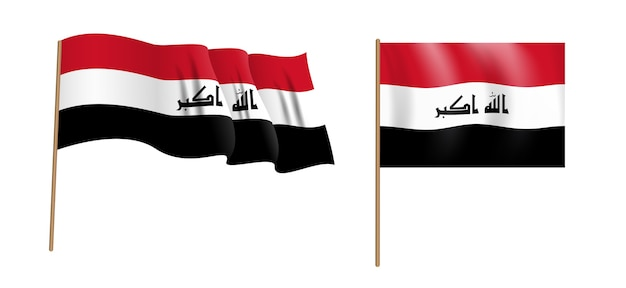 Bunte naturalistische wehende flagge der republik irak.