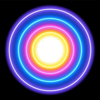 Bunte neonlichtkreise, abstrakter hintergrund, vektorillustration im format eps10