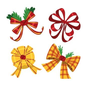 Bunte nette weihnachtsbänder und -bögen