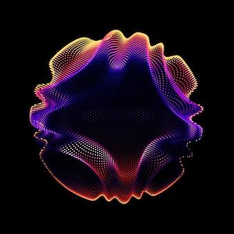 Bunte netzkugel des abstrakten vektors auf dunklem hintergrund. beschädigte punktkugel. chaos-ästhetik.