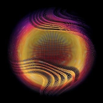 Bunte netzkugel des abstrakten vektors auf dunklem hintergrund. futuristische stilkarte.