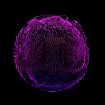Bunte netzkugel des abstrakten vektors violett auf dunklem hintergrund. beschädigte punktkugel. chaos-ästhetik.
