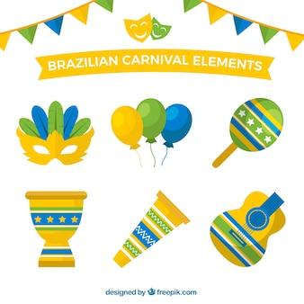 Bunte objekte in flacher bauweise für brasilianische karneval