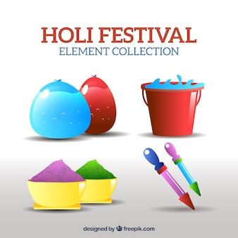 Bunte objekte in realistischen stil für holi festival