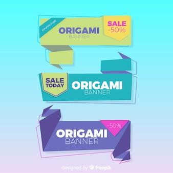 Bunte origami-verkaufsfahnen