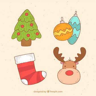 Bunte pack von süßen weihnachten elemente