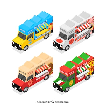 Bunte packung isometrische lebensmittel-trucks