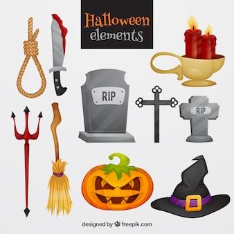 Bunte packung von gruseligen halloween-elementen