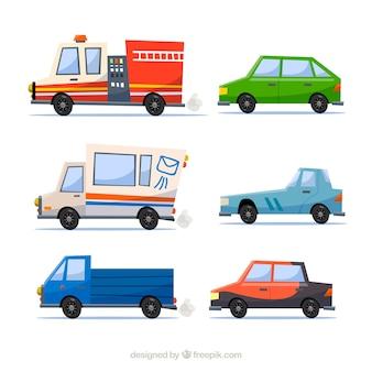 Bunte packung von lastwagen und autos