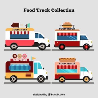 Bunte packung von vintage food trucks