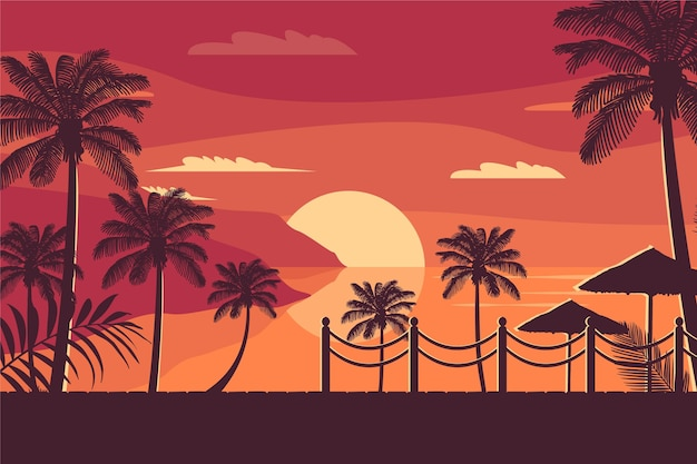 Bunte palm silhouetten tapete