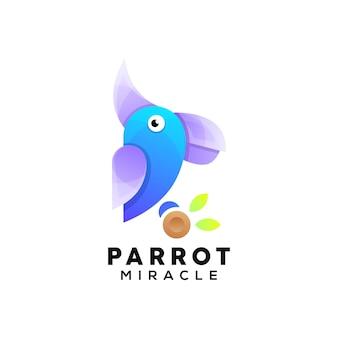 Bunte papageienillustrationslogoschablone