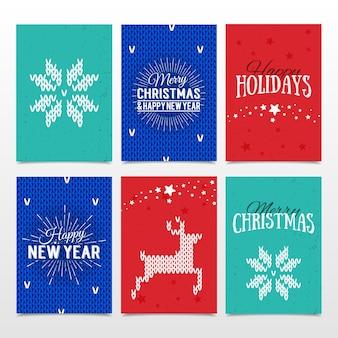 Bunte papierkarten mit frohen feiertagen, frohen weihnachten und neujahrsbeschriftung. weihnachtskalligraphie auf lokalisiertem hintergrund. gestrickte norwegische elemente