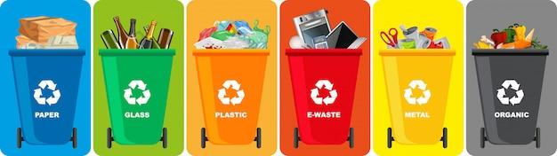 Bunte papierkörbe mit recycling-symbol auf farbigem hintergrund isoliert