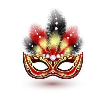 Bunte parteimaske des roten venetianischen karnevalskarnevals mit dekorationsfedern und diamanten vector illustration