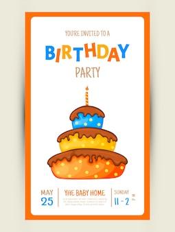 Bunte party-einladungskarte mit einem kuchen auf weißem hintergrund. feier-event alles gute zum geburtstag. mehrfarbig. vektor