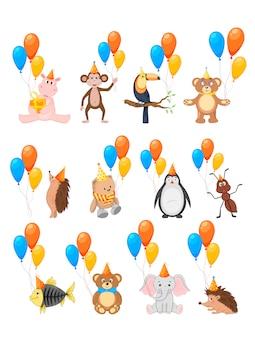 Bunte party stellte mit netten tieren und ballonen auf einem weißen hintergrund ein