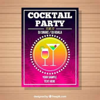 Bunte partybroschüre mit cocktail