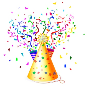 Bunte partyillustration mit einem konischen goldenen partyhut, luftschlangen oder bändern und schwebendem papierkonfetti