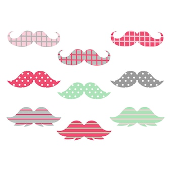 Bunte pastellfarbene hipster-schnurrbärte in verschiedenen formen illustrationen