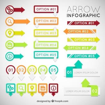 Bunte pfeil infografik set