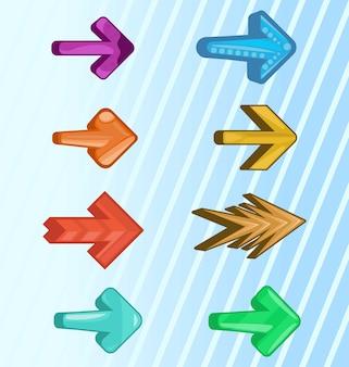 Bunte pfeile pfeile in verschiedenen designs pfeile für spiele-apps oder webseiten uihud elemen