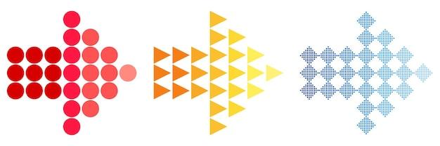 Bunte pfeilsymbole ein einfaches zeichen für die farbe eines websymbols auf weißem hintergrund