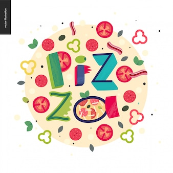 Bunte pizza in schrift