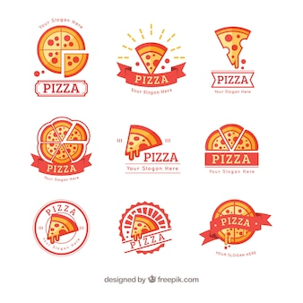 Bunte pizza-logo-kollektion