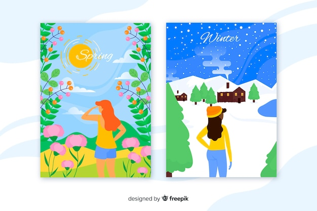 Bunte plakate des frühlinges und des winters