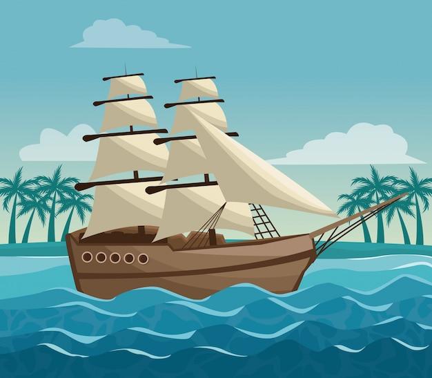 Bunte plakathimmellandschaft von palmen auf dem strand und dem segelboot